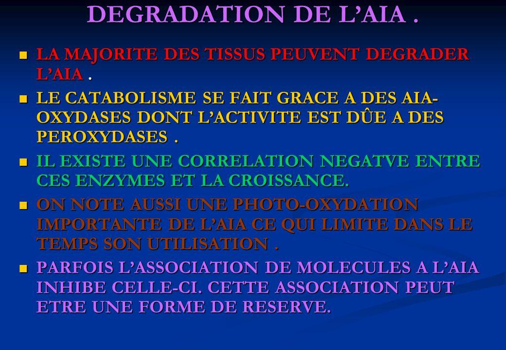 DEGRADATION DE L'AIA . LA MAJORITE DES TISSUS PEUVENT DEGRADER L'AIA .