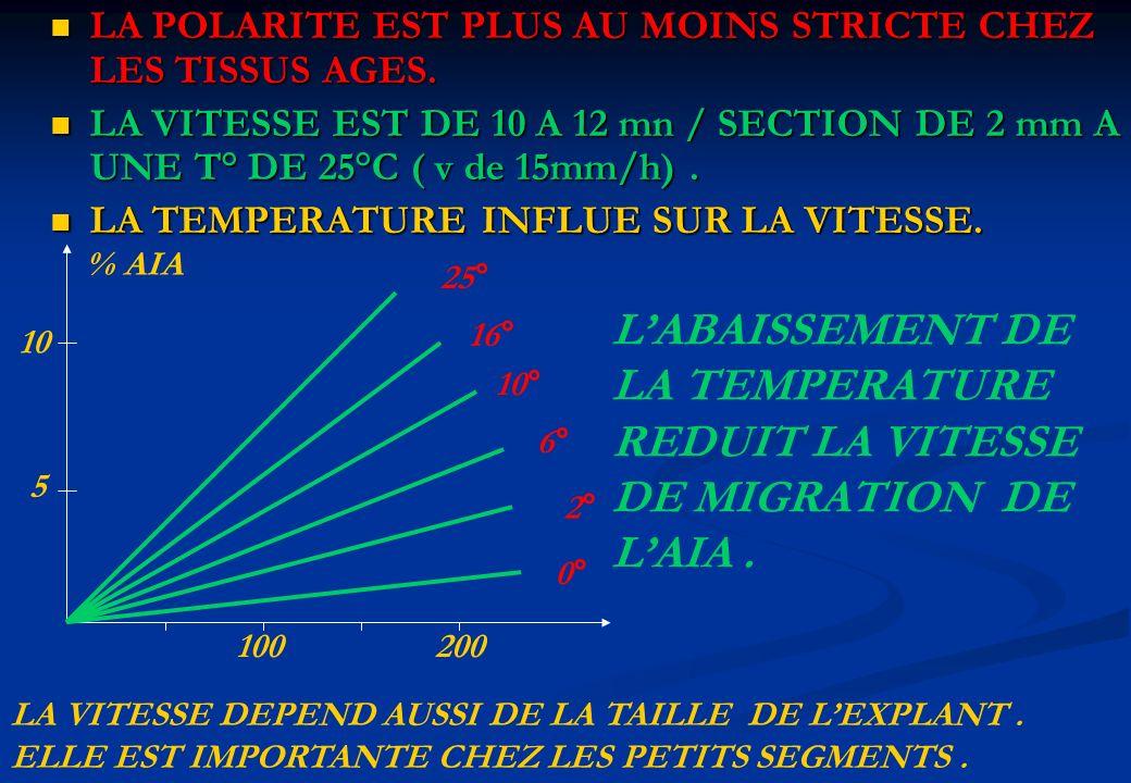 L'ABAISSEMENT DE LA TEMPERATURE REDUIT LA VITESSE DE MIGRATION DE