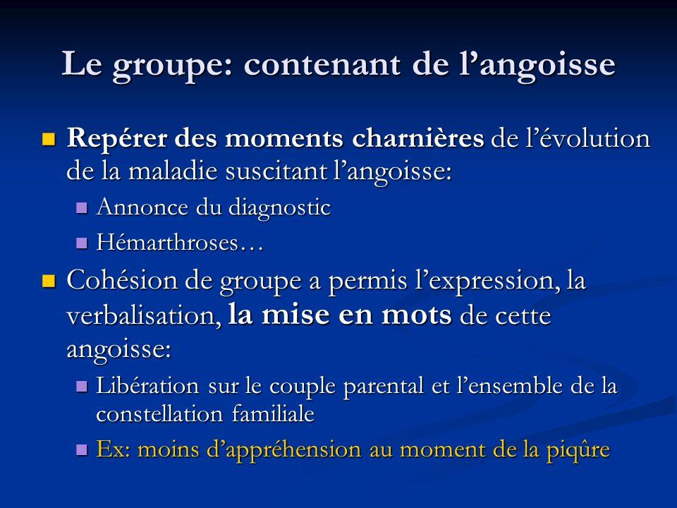 Le groupe: contenant de l'angoisse