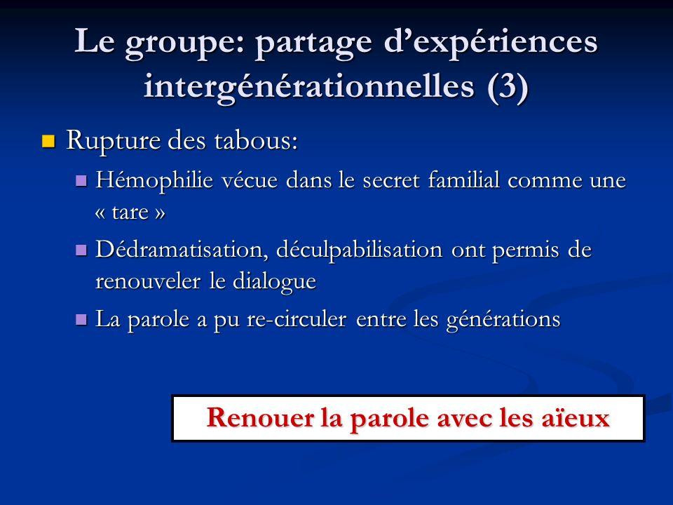 Le groupe: partage d'expériences intergénérationnelles (3)