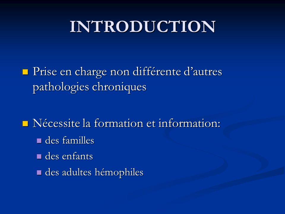 INTRODUCTION Prise en charge non différente d'autres pathologies chroniques. Nécessite la formation et information:
