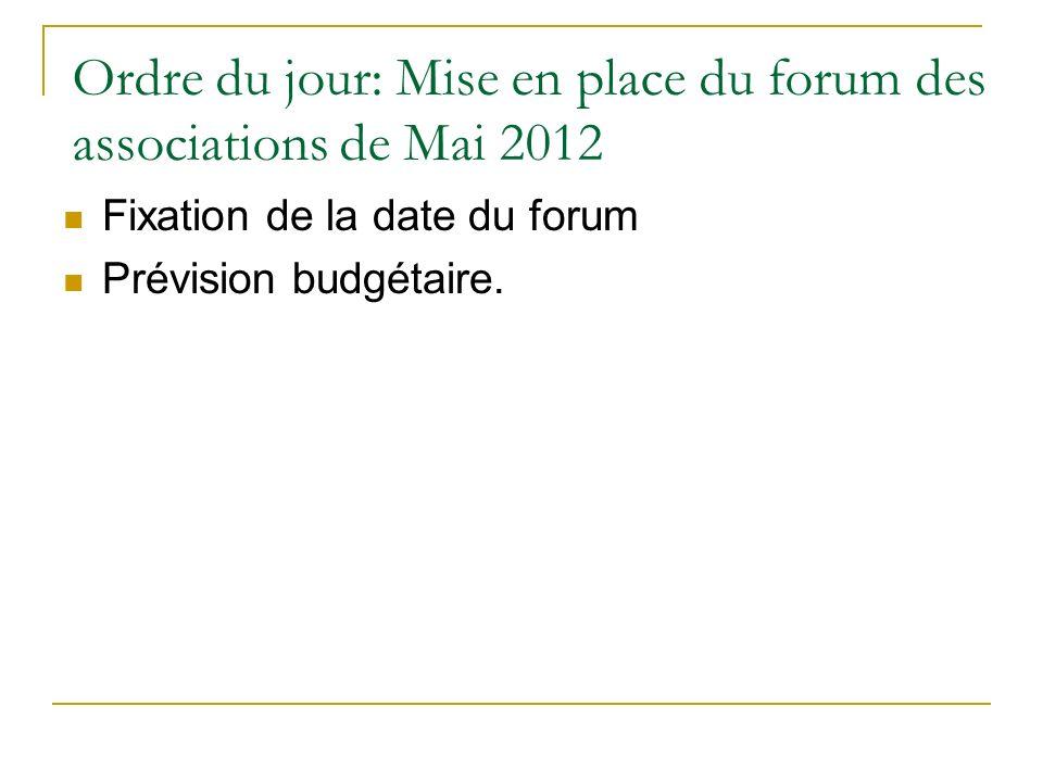 Ordre du jour: Mise en place du forum des associations de Mai 2012