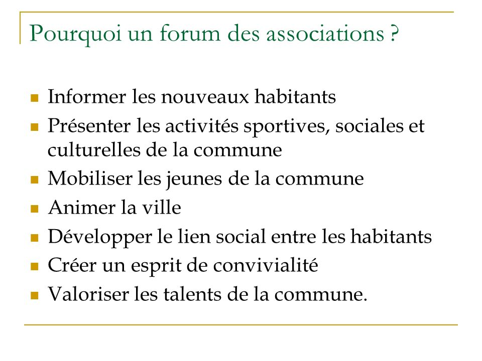 Pourquoi un forum des associations