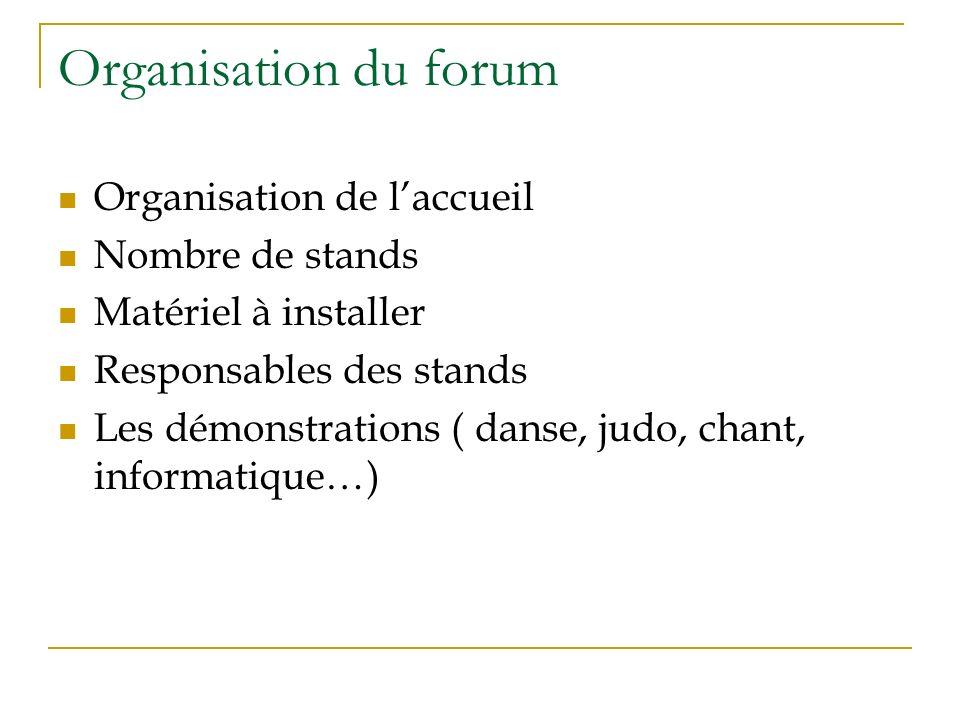 Organisation du forum Organisation de l'accueil Nombre de stands
