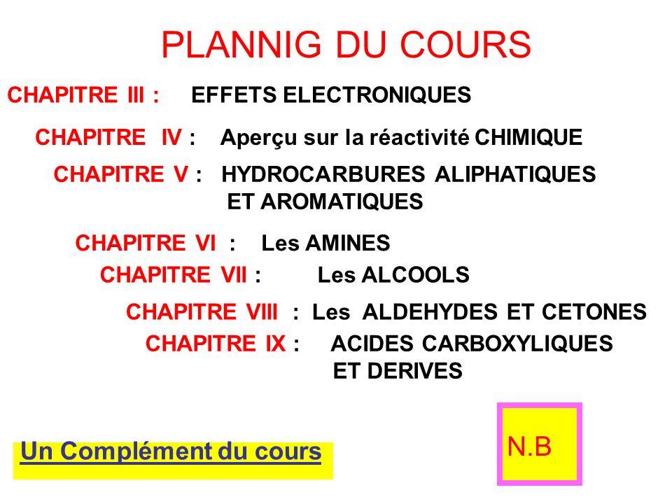 N.B PLANNIG DU COURS Un Complément du cours