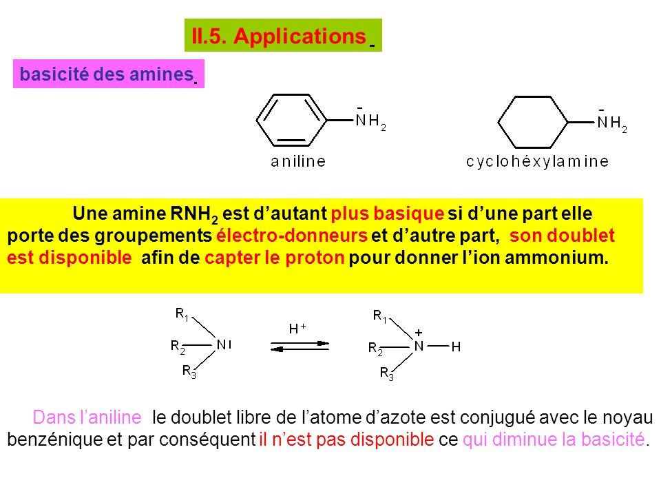 II.5. Applications basicité des amines
