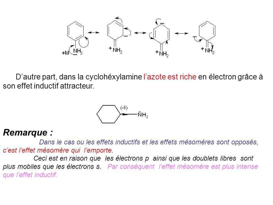 D'autre part, dans la cyclohéxylamine l'azote est riche en électron grâce à son effet inductif attracteur.