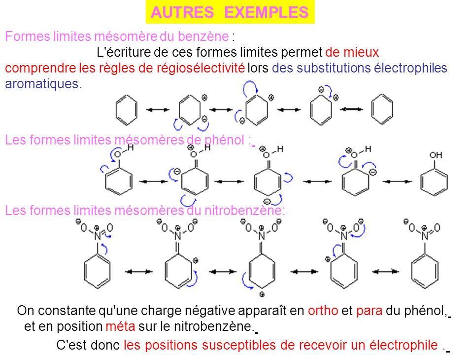 AUTRES EXEMPLES Formes limites mésomère du benzène :