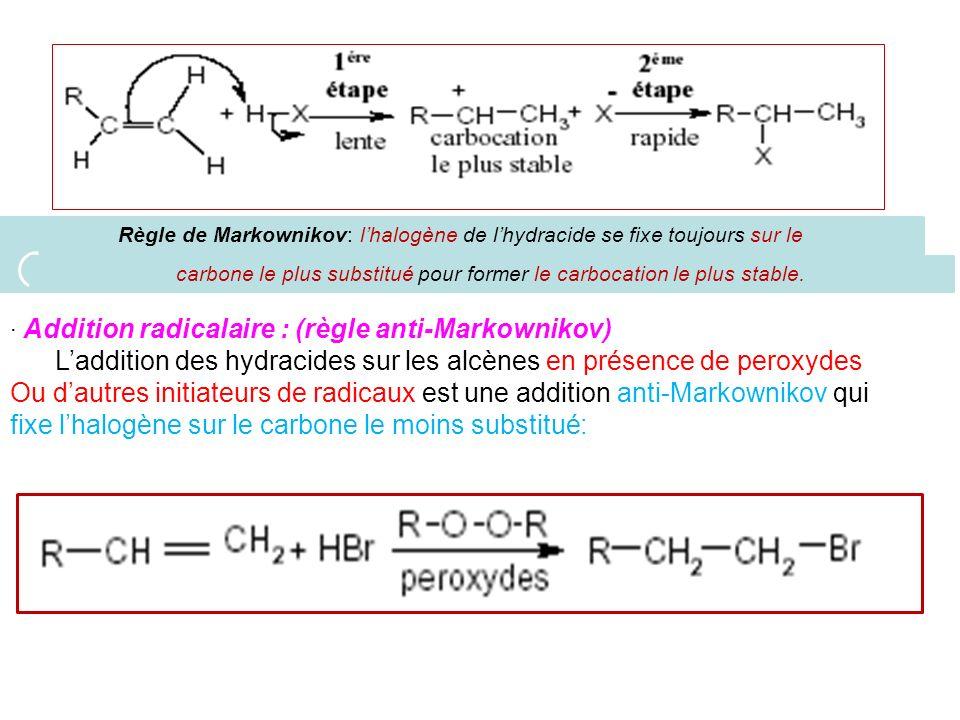 carbone le plus substitué pour former le carbocation le plus stable.