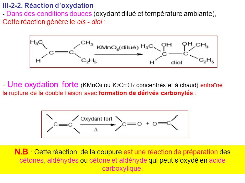 III-2-2. Réaction d'oxydation