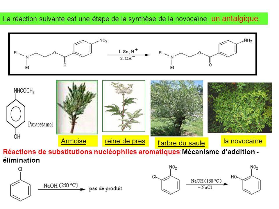 La réaction suivante est une étape de la synthèse de la novocaïne, un antalgique.