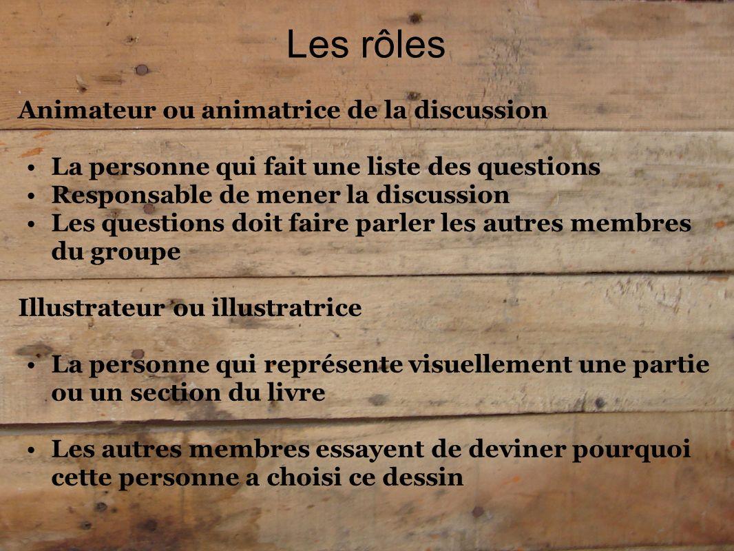 Les rôles Animateur ou animatrice de la discussion