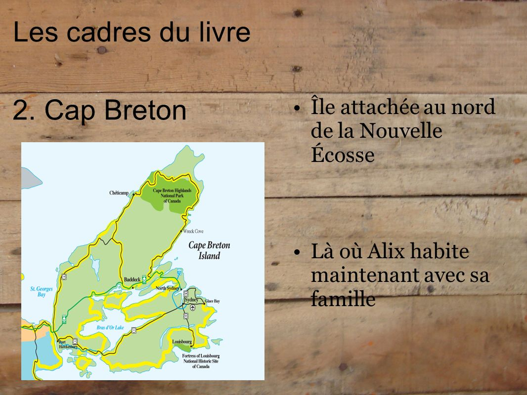 Les cadres du livre 2. Cap Breton