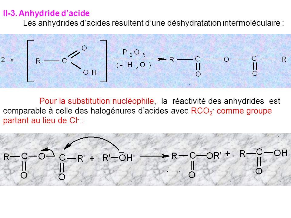 II-3. Anhydride d'acide Les anhydrides d'acides résultent d'une déshydratation intermoléculaire :