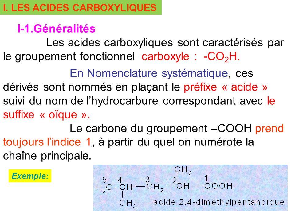 I. LES ACIDES CARBOXYLIQUES