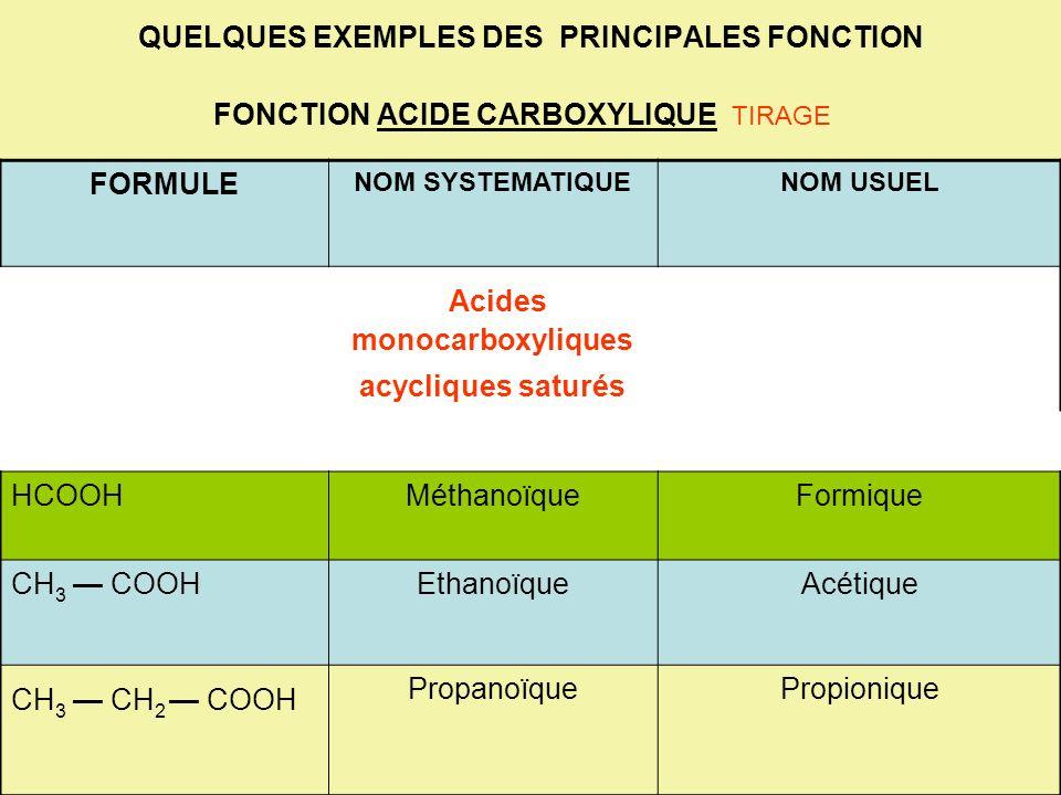 Acides monocarboxyliques acycliques saturés