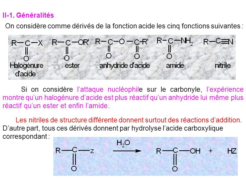II-1. Généralités On considère comme dérivés de la fonction acide les cinq fonctions suivantes :