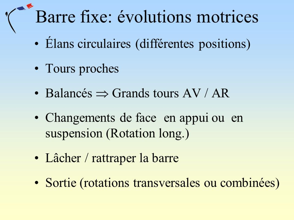 Barre fixe: évolutions motrices