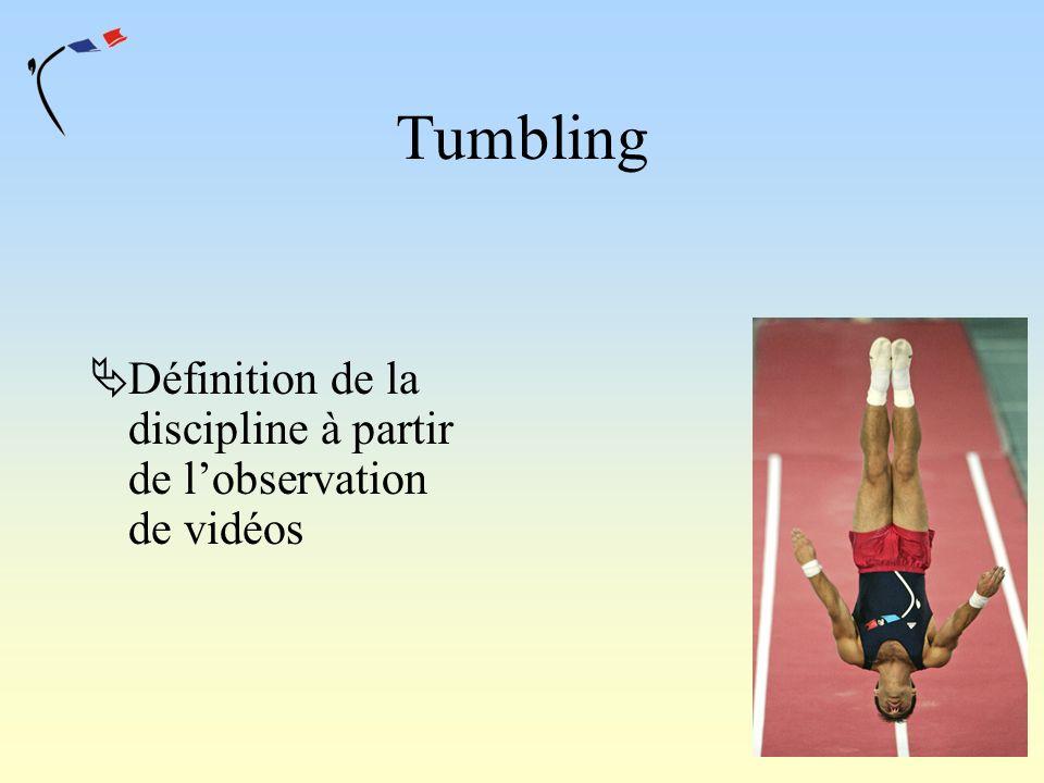 Tumbling Définition de la discipline à partir de l'observation de vidéos