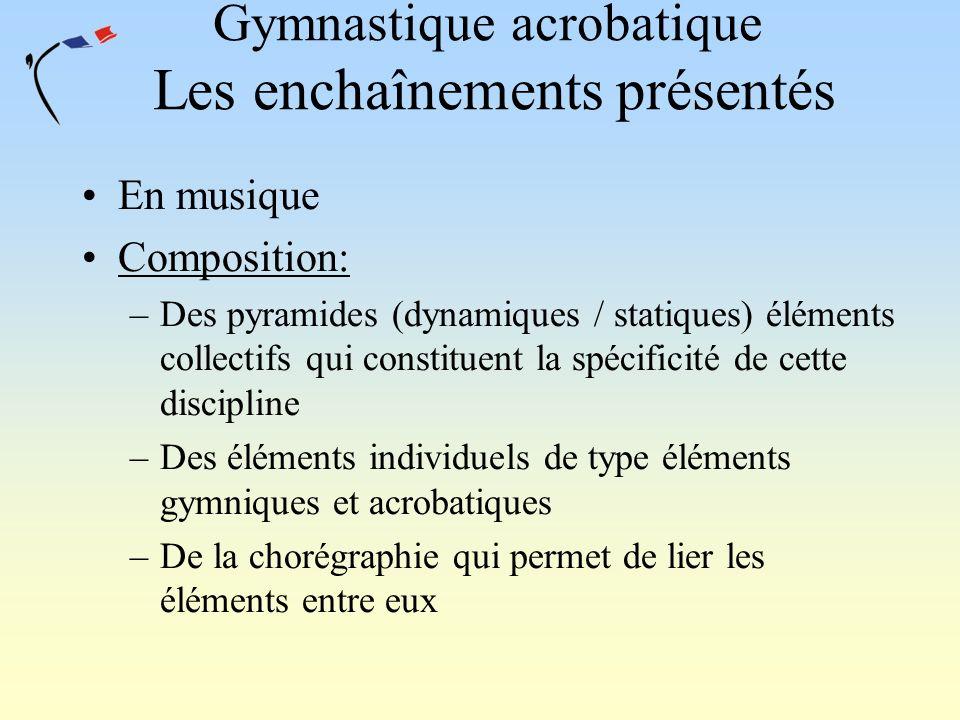 Gymnastique acrobatique Les enchaînements présentés