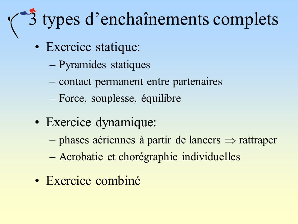 3 types d'enchaînements complets
