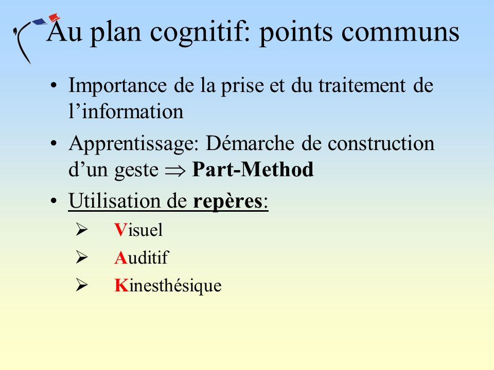 Au plan cognitif: points communs