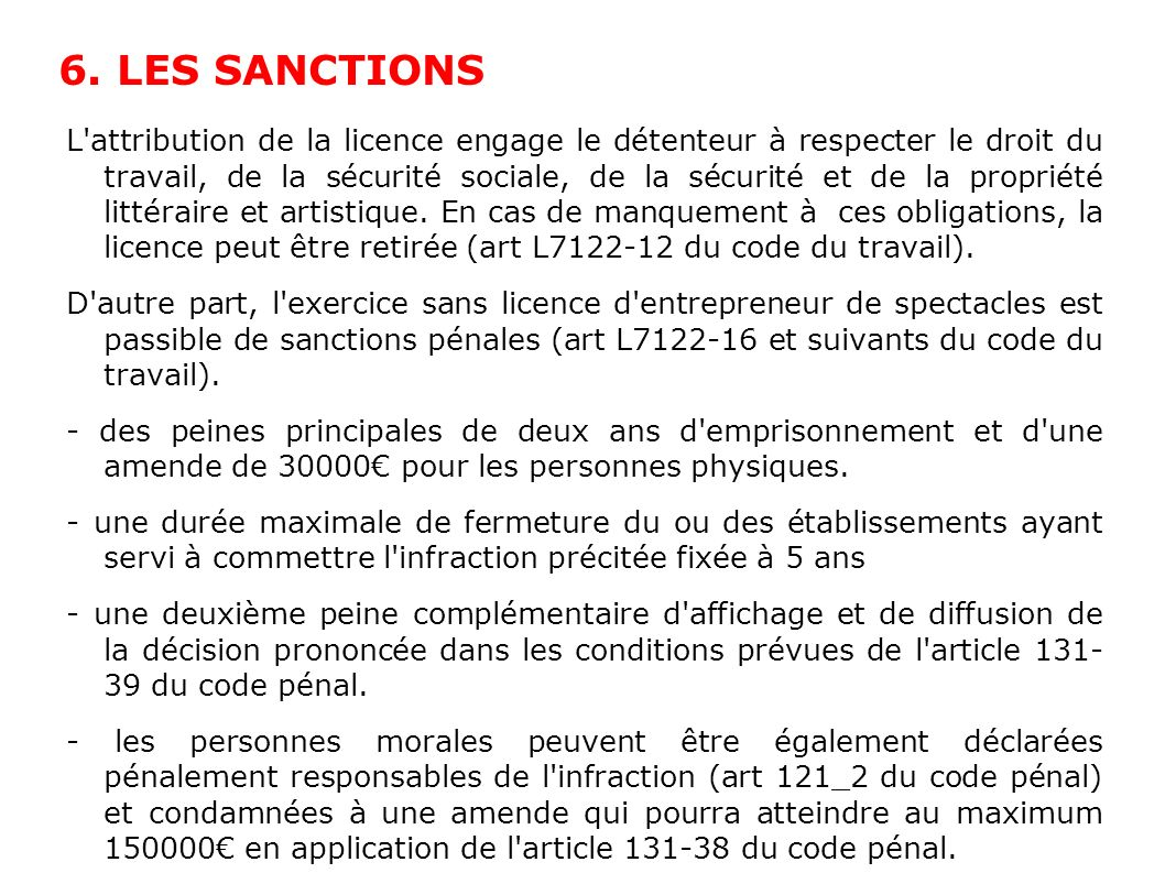 6. LES SANCTIONS