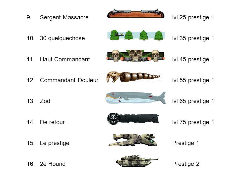 9.Sergent Massacre. lvl 25 prestige 1. 10. 30 quelquechose. lvl 35 prestige 1.