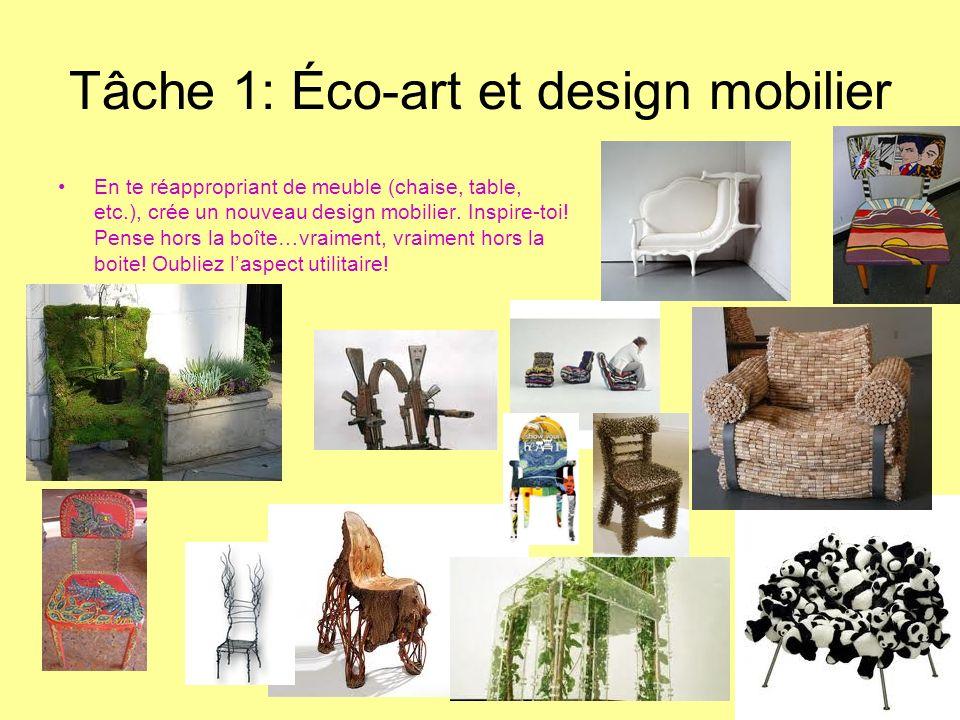 Tâche 1: Éco-art et design mobilier