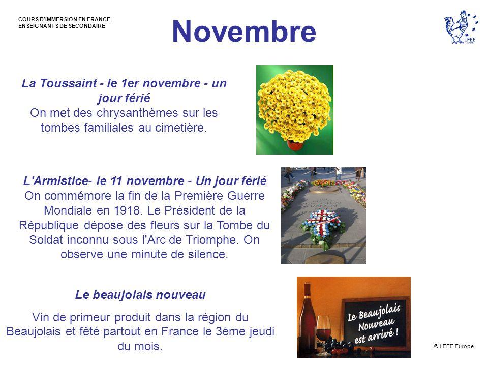 Novembre La Toussaint - le 1er novembre - un jour férié