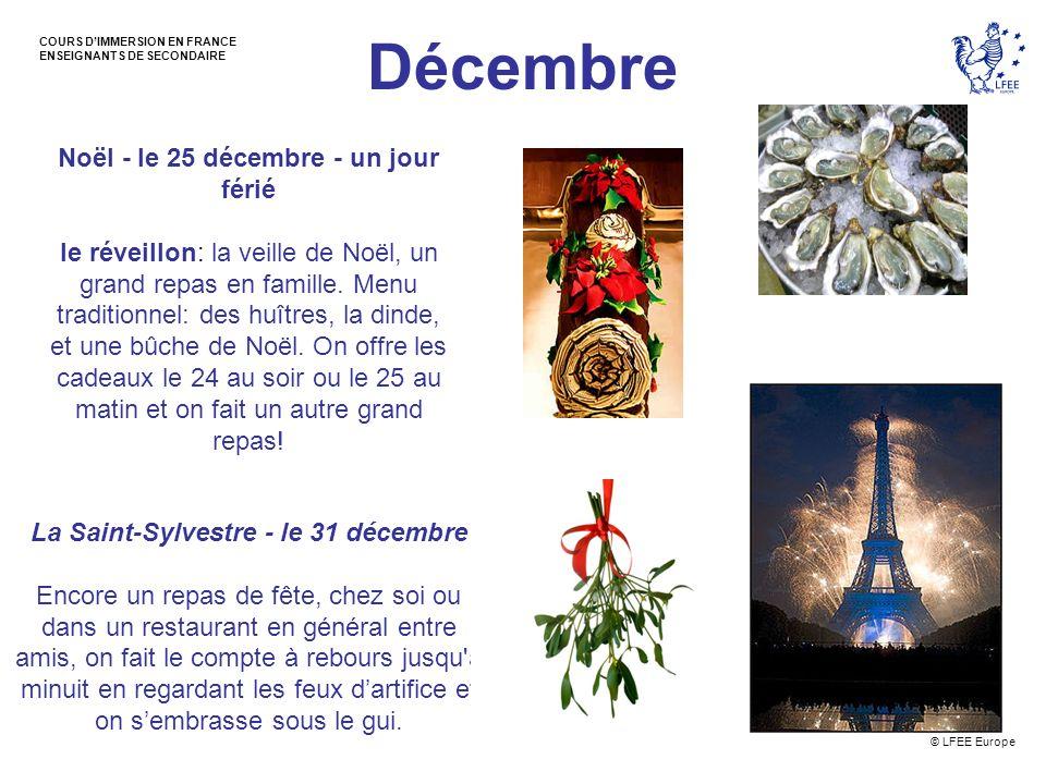 Décembre Noël - le 25 décembre - un jour férié