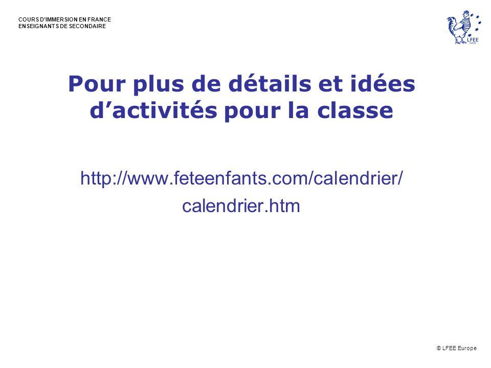 Pour plus de détails et idées d'activités pour la classe