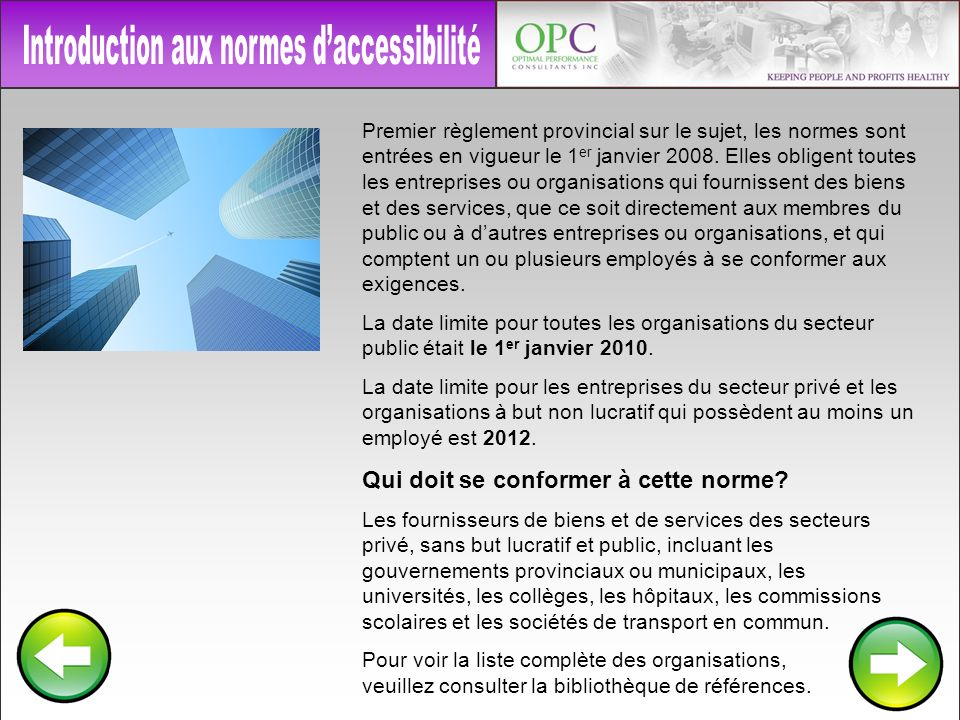 Introduction aux normes d'accessibilité