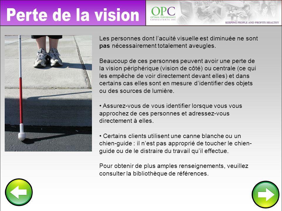 Perte de la vision Les personnes dont l'acuité visuelle est diminuée ne sont pas nécessairement totalement aveugles.