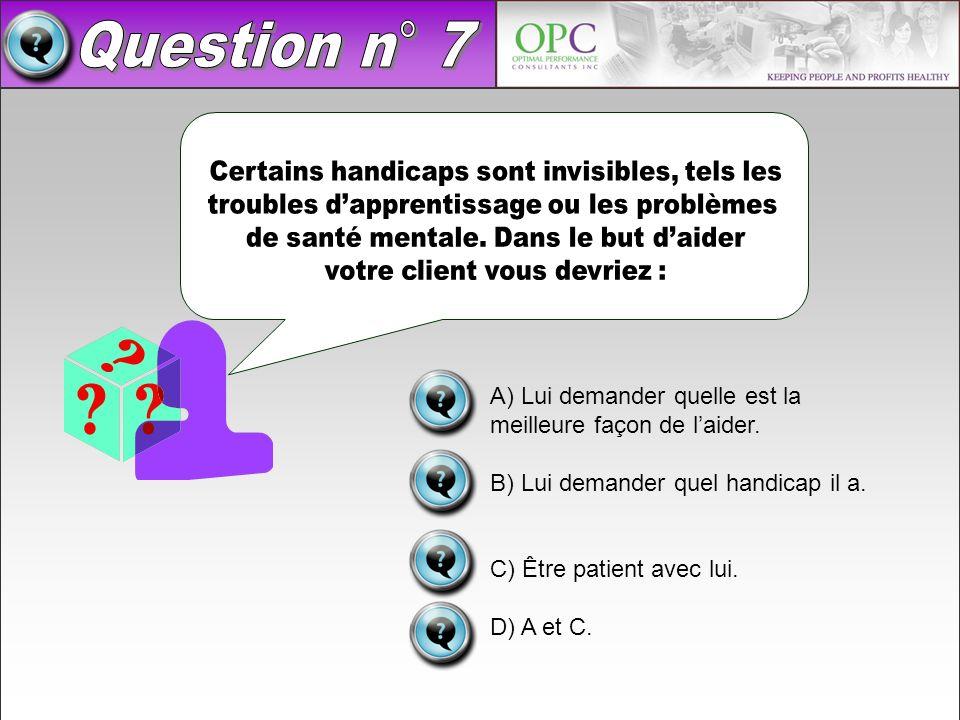 Question n° 7 Certains handicaps sont invisibles, tels les