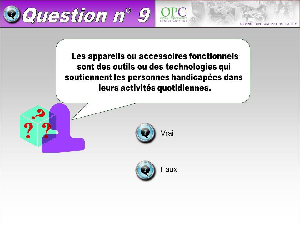Question n° 9 Les appareils ou accessoires fonctionnels