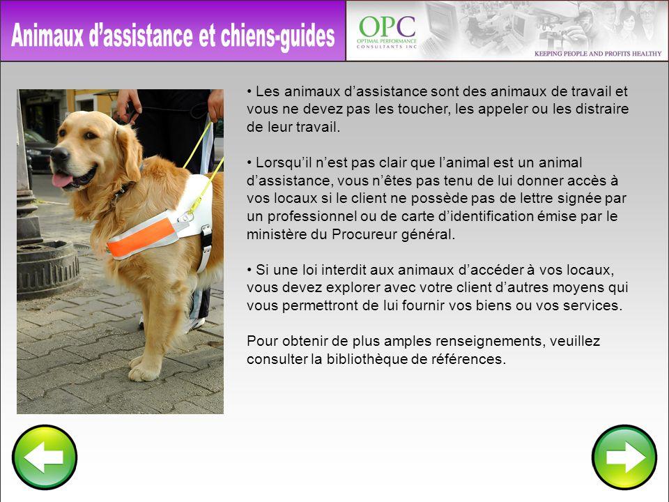 Animaux d'assistance et chiens-guides