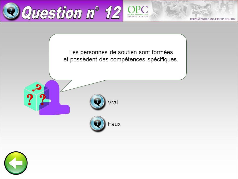 Question n° 12 Les personnes de soutien sont formées et possèdent des compétences spécifiques. Vrai.