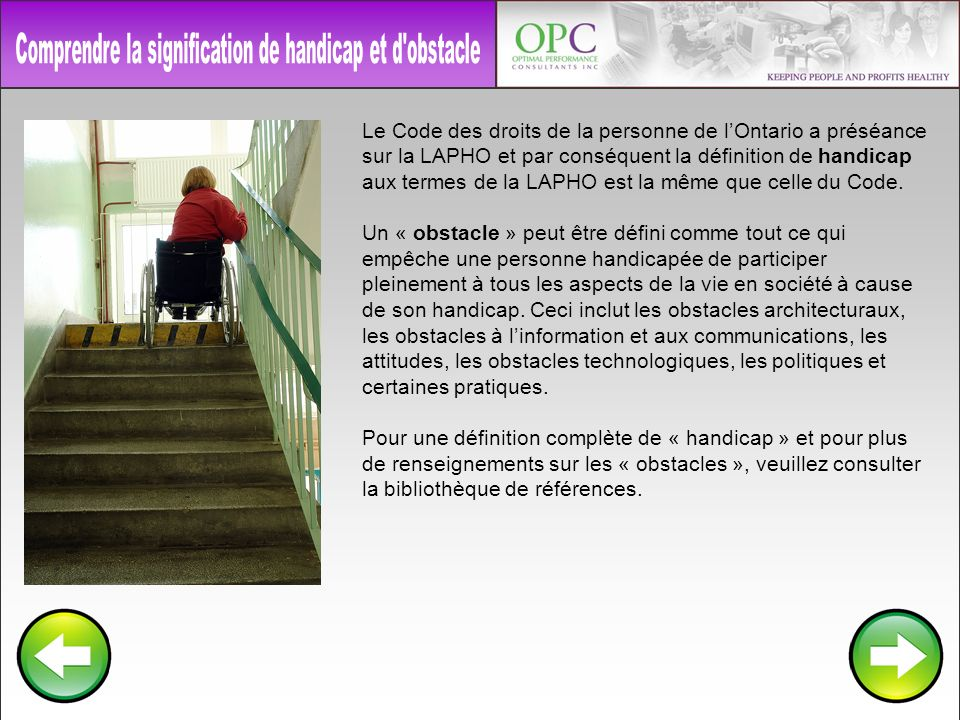 Comprendre la signification de handicap et d obstacle