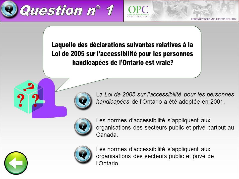 Question n° 1 Laquelle des déclarations suivantes relatives à la