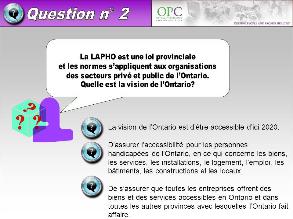 Question n° 2 La vision de l'Ontario est d'être accessible d'ici 2020.