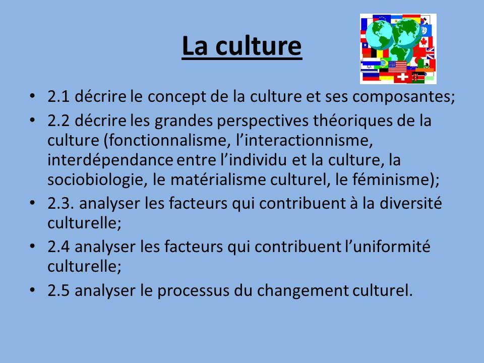 La culture 2.1 décrire le concept de la culture et ses composantes;