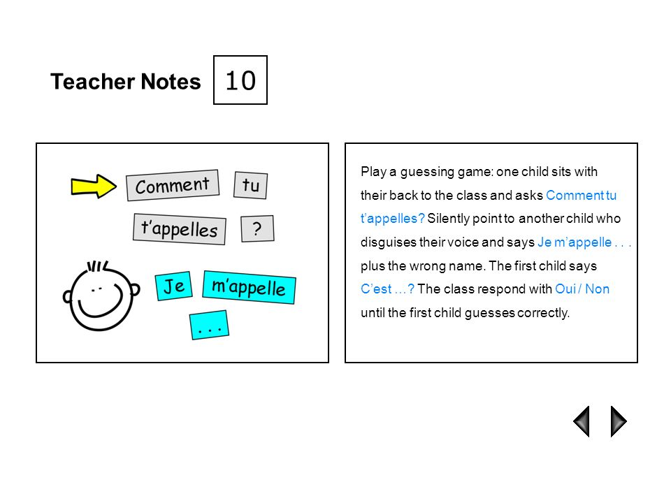 10 Teacher Notes Play a guessing game: one child sits with