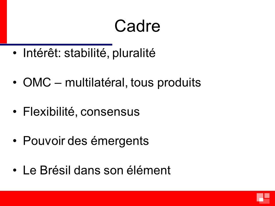 Cadre Intérêt: stabilité, pluralité OMC – multilatéral, tous produits