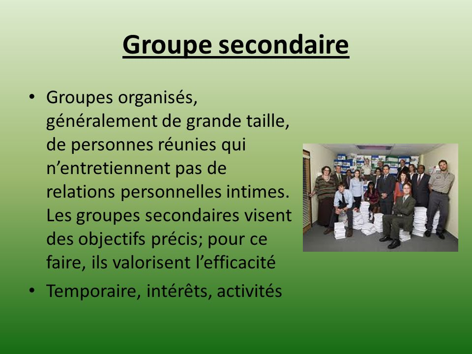 Groupe secondaire