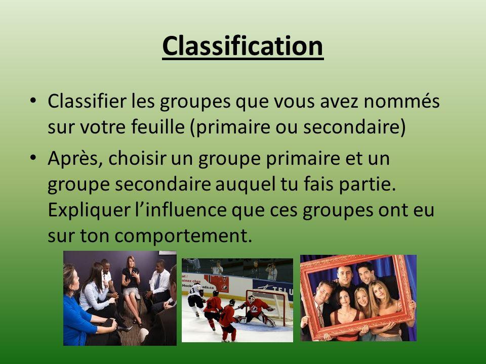 Classification Classifier les groupes que vous avez nommés sur votre feuille (primaire ou secondaire)