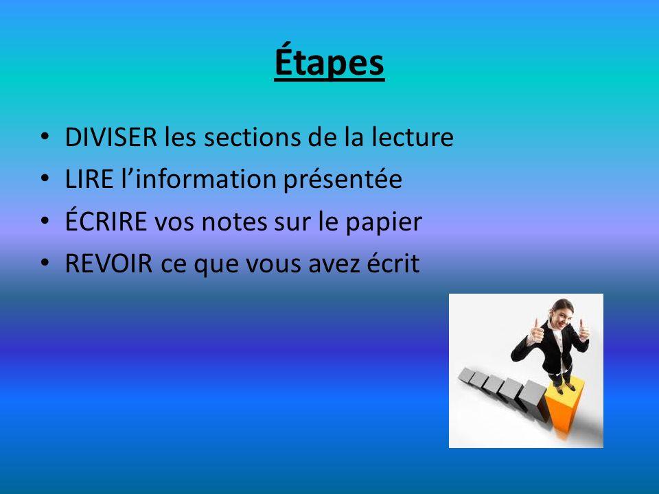 Étapes DIVISER les sections de la lecture LIRE l'information présentée