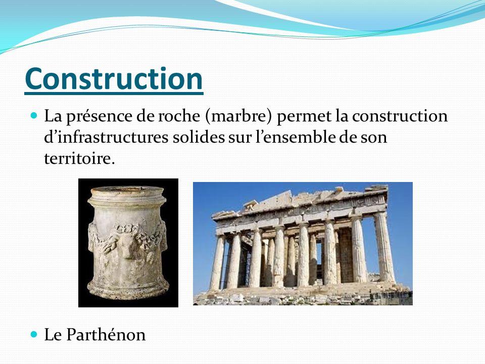 Construction La présence de roche (marbre) permet la construction d'infrastructures solides sur l'ensemble de son territoire.