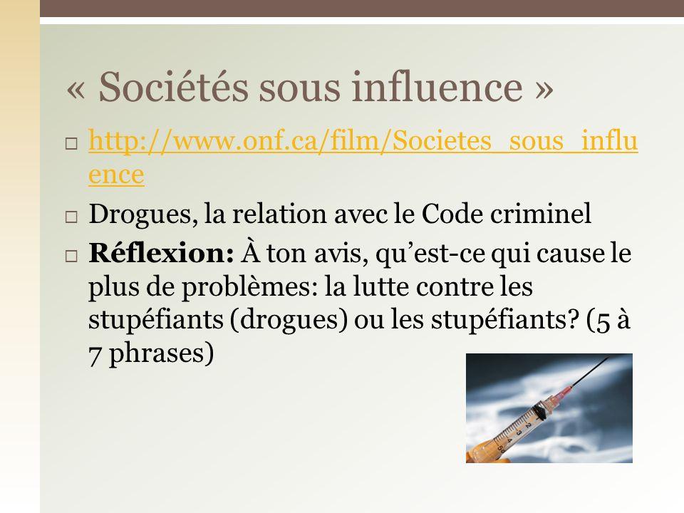 « Sociétés sous influence »