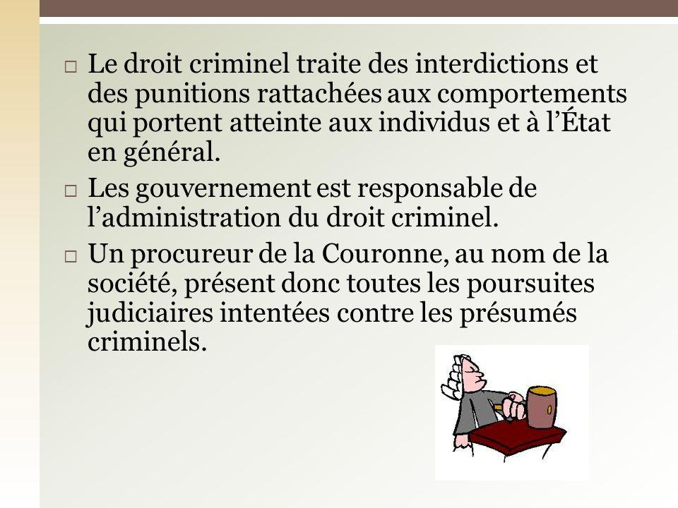 Le droit criminel traite des interdictions et des punitions rattachées aux comportements qui portent atteinte aux individus et à l'État en général.